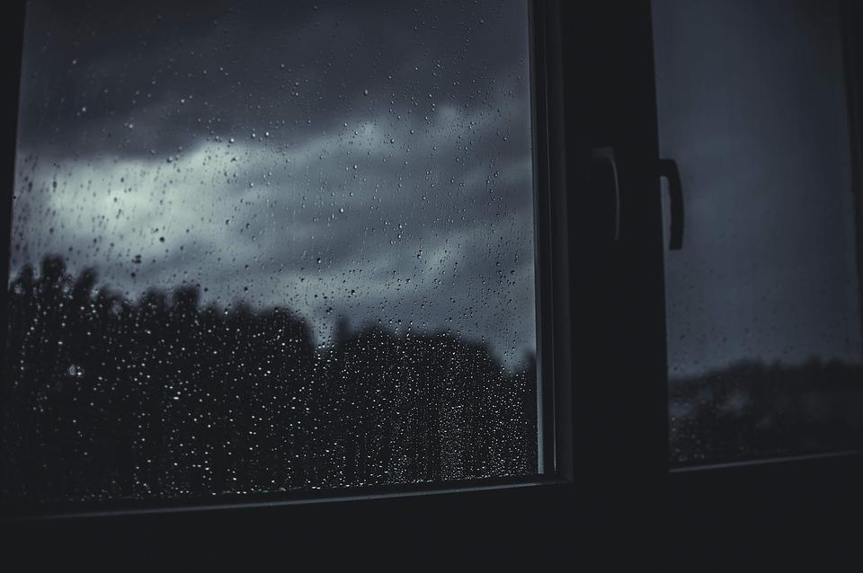 okno, dážď